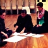 Sarah-Grace Williams with composer Daniel Rojas and percussionist Claire Edwardes discussing score for World Premiere in Met Series 2 2013