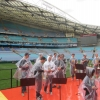 Brass looking fetching in their ponchos - NRL Grand Final dress rehearsal