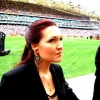 Sarha-Grace taking a moment to look at the 83000 people stadium before heading centre field to conduct