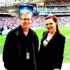 Guy Noble (MCO Patron) & Sarah-Grace Williams on the field before the NRL Grand Final Entertainment