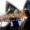 Sound check on the Opera House forecourt